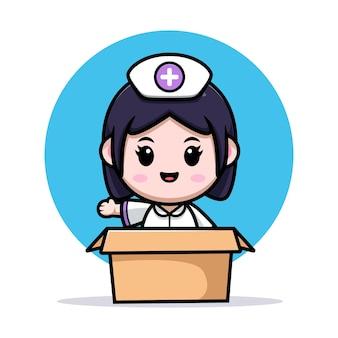 Niedliche krankenschwester kawaii winkende hand innerhalb der box-cartoon-charakter-illustration