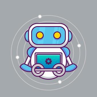 Niedliche künstliche intelligenz mit monitor
