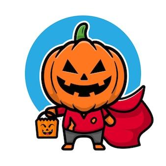Niedliche kürbis-halloween-cartoon-vektor-illustration