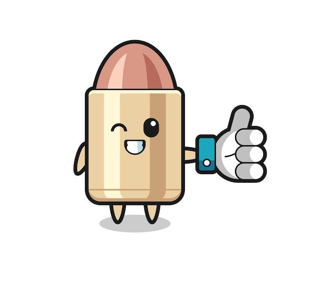 Niedliche kugel mit social-media-daumen hoch symbol, niedliches design für t-shirt, aufkleber, logo-element