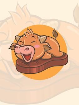 Niedliche kuh auf einem gegrillten rindfleisch - maskottchen und logoillustration