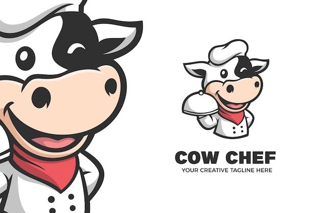 Niedliche kuh-chef-rindfleisch-maskottchen-charakter-logo-vorlage