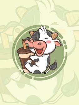 Niedliche kuh, die kaffeetasse umarmt - zeichentrickfigur und logoillustration