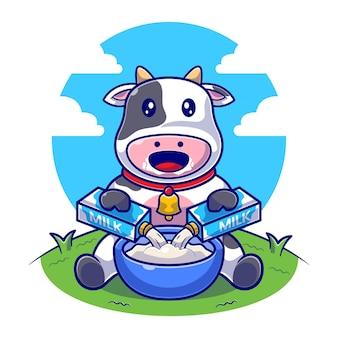Niedliche kuh, die milchbox in der flachen illustration der schüssel gießt