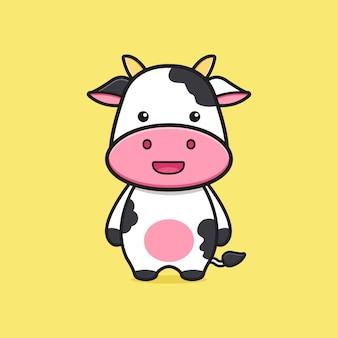 Niedliche kuh maskottchen charakter cartoon symbol abbildung. entwerfen sie isolierten flachen cartoon-stil