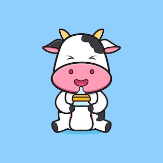 Niedliche kuh mit milchflaschen-schnuller-cartoon-symbol-illustration. entwerfen sie isolierten flachen cartoon-stil
