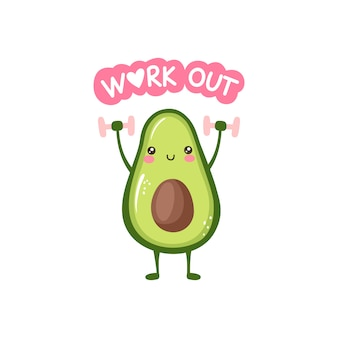 Niedliche lächelnde avocado, die übungen mit hanteln macht. lustige gesundheits- und fitnessillustration mit karikaturfruchtcharakter.