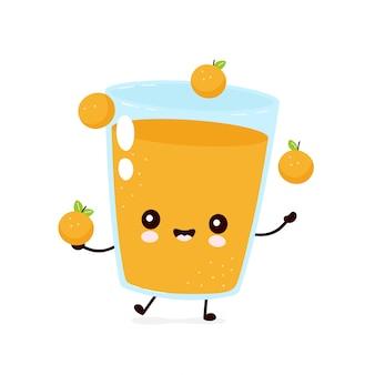 Niedliche lächelnde glückliche orangensaft-jonglierfrüchte. flache zeichentrickfigur abbildung.isolated auf weißem hintergrund.orange glas maskottchen charakter konzept