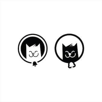 Niedliche lächelnde katzengesichtskarikaturillustrations-tierschablone Premium Vektoren