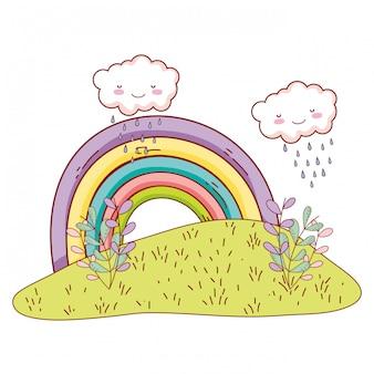 Niedliche landschaften mit regenbogenzeichnungen
