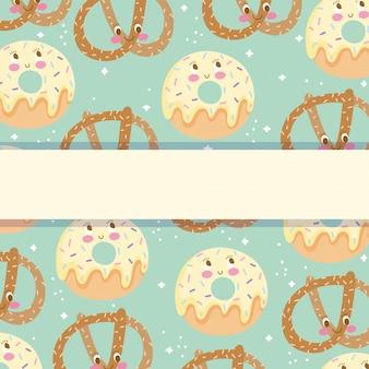 Niedliche lebensmittelmusterentwurf, bäckerei brezel und donuts süße cartoon vektor-illustration
