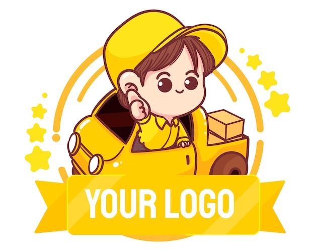 Niedliche lieferung mann logo hand zeichnen cartoon-kunst-illustration
