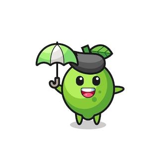 Niedliche limettenillustration, die einen regenschirm hält, niedliches stildesign für t-shirt, aufkleber, logoelement