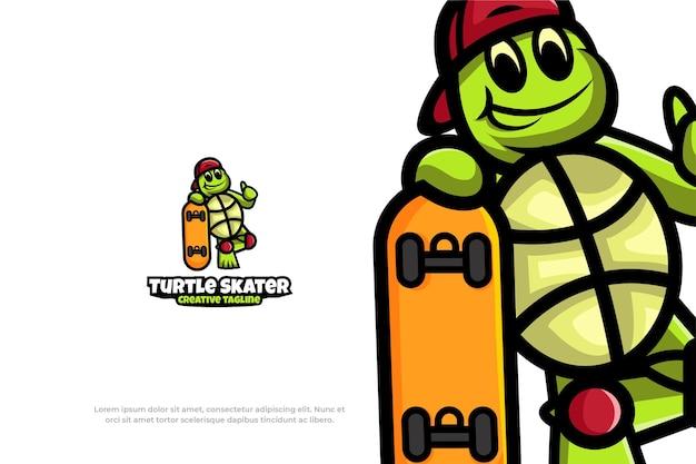 Niedliche logo-schildkröten-skater-maskottchen-tier-vektor-illustration
