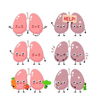 Niedliche lungen gesetzt. gesundes und ungesundes menschliches organ.