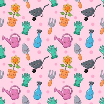 Niedliche lustige gartengeräte nahtlose muster kawaii-stil