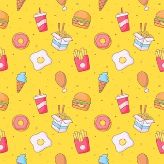 Niedliche lustige niedliche fast-food-kawaii-stilikonen des nahtlosen musters