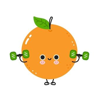 Niedliche lustige orange machen fitnessstudio mit hanteln. vektor flache linie cartoon kawaii charakter abbildung symbol. isoliert auf weißem hintergrund. orangenfrucht-workout-charakterkonzept