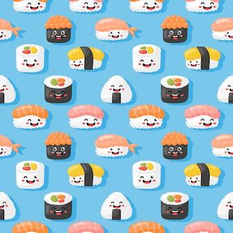 Niedliche lustige sushi und sashimi cartoon-stil isoliert kawaii nahtlose muster. abbildung vektor.