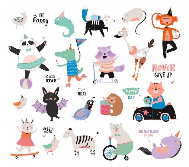 Niedliche lustige tiere und motivierte wünsche eingestellt. . weißer hintergrund. . gut für plakate, aufkleber, karten, alphabet und kinderzimmerdekor.