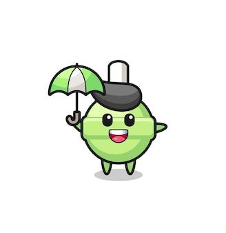 Niedliche lutscherillustration, die einen regenschirm hält, niedliches stildesign für t-shirt, aufkleber, logoelement