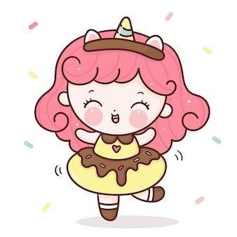 Niedliche mädchen cartoon tragen einhorn horn und kostüm donut kleid kawaii stil