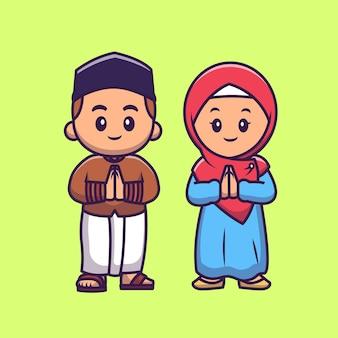 Niedliche mädchen und jungen moslem feiern eid mubarak cartoon vektor icon illustration. menschen religion symbol konzept isoliert premium-vektor. flacher cartoon-stil