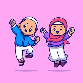 Niedliche mädchen und jungen moslem feiern ied mubarak cartoon vektor icon illustration. menschen religion symbol konzept isoliert premium-vektor. flacher cartoon-stil