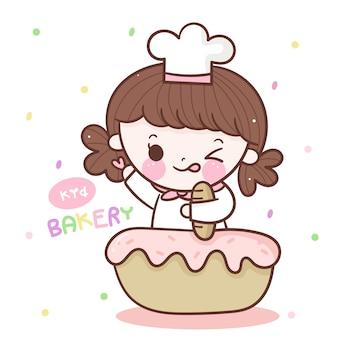 Niedliche mädchenbäckerei mit cupcake und brot