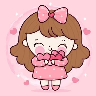 Niedliche mädchenkarikatur umarmen süßes herz für valentinstag kawaii charakter