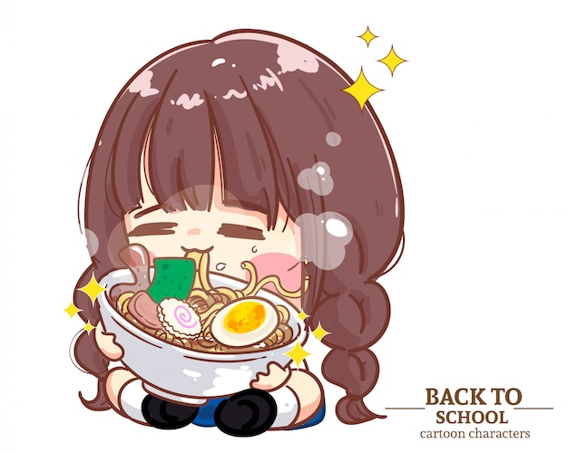 Niedliche mädchenkinder studentenuniformen essen nudeln zurück zur schule. karikaturillustration premium-vektor