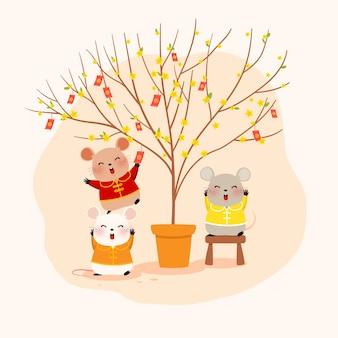 Niedliche mäuse mit einem aprikosenbaum
