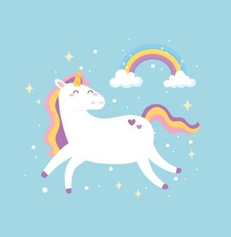 Niedliche magische einhorn traum fantasie regenbogen sterne tier cartoon vektor-illustration