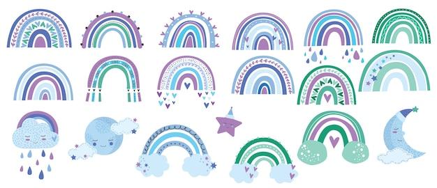 Niedliche makramee-setgegenstände mit wolken, regenbogen, sternen, sonne und mond in pastellfarbe.