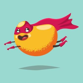 Niedliche mango-cartoon-figur einer exotischen frucht in einem superheldkostüm