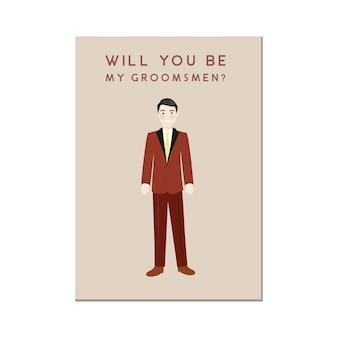 Niedliche mann-cartoon-figur in der roten anzug groomsmen-einladung
