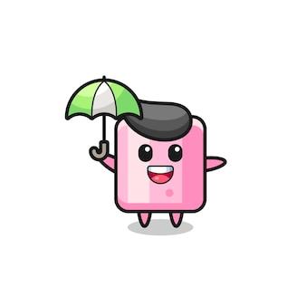 Niedliche marshmallow-illustration, die einen regenschirm hält, niedliches design für t-shirt, aufkleber, logo-element