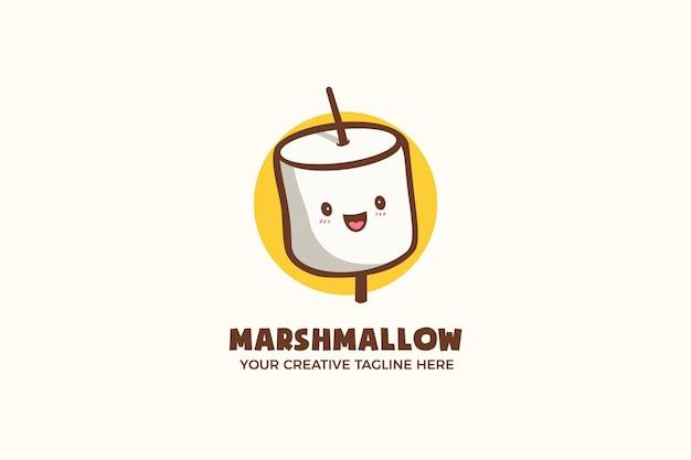 Niedliche marshmallow-süßigkeit-maskottchen-zeichen-logo-vorlage