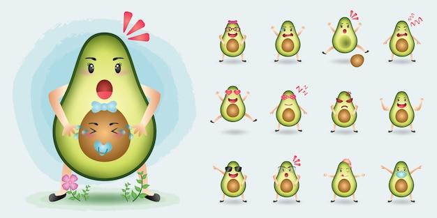 Niedliche maskottchen-avocado-zeichensatzsammlung