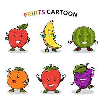 Niedliche maskottchen-karikatur des frischen frucht-satzes