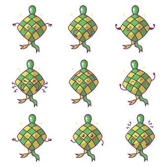 Niedliche maskottchen ketupats essen vektor-illustration