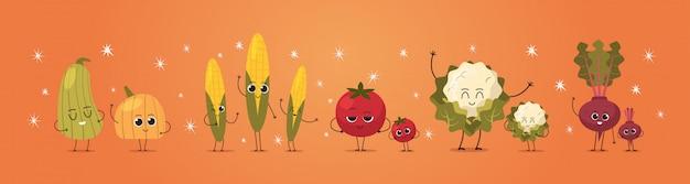 Niedliche maskottchen kürbis mais tomate rettich blumenkohl gemüse zeichen lustige cartoon persönlichkeiten stehen zusammen gesunde lebensmittel konzept horizontal