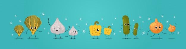 Niedliche maskottchen salat knoblauch pfeffer gurke zwiebel gemüse zeichen lustige cartoon persönlichkeiten stehen zusammen gesunde lebensmittel konzept horizontal