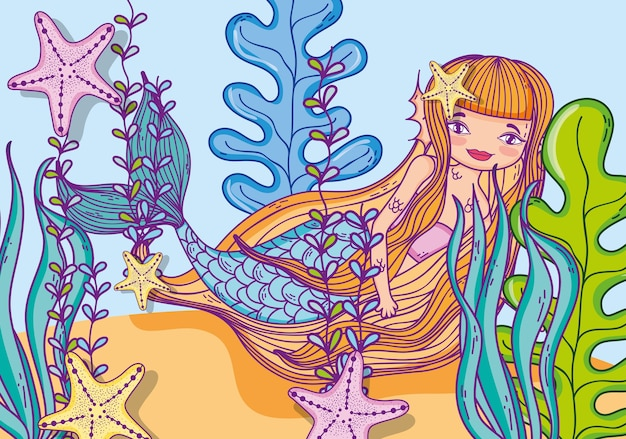 Niedliche meerjungfrau cartoon