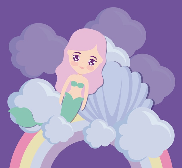 Niedliche meerjungfrau mit muschel und regenbogen