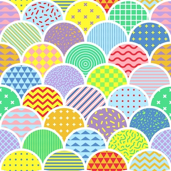 Niedliche memphis shell seamless pattern
