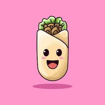 Niedliche mexikanische burrito-lebensmittelillustration
