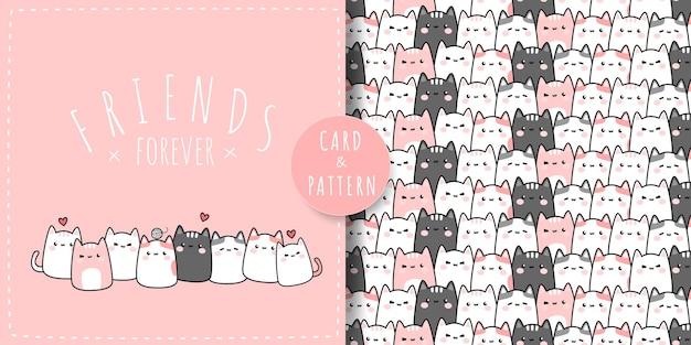 Niedliche mollige katze kitty freunde cartoon gekritzel flache design rosa pastell thema karte und nahtloses muster