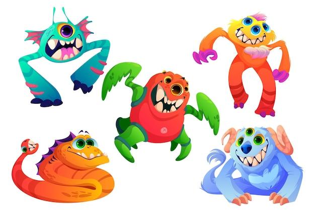 Niedliche monster kleine außerirdische tiere mit zähnen, hörnern, vielen augen und pelzvektor-cartoon-set aus lustigen cr...