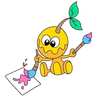 Niedliche monster malen auf der leinwand, charakter süße doodle zeichnen. vektor-illustration